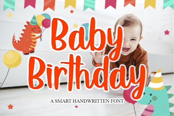 Print on Demand: Baby Birthday Script & Handwritten Font By mizanstudio