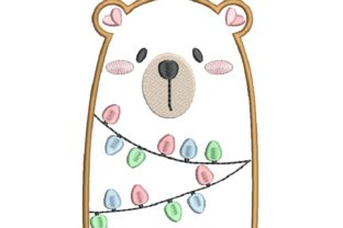 Bear with Lights Applique Christmas Embroidery Design By carasembor