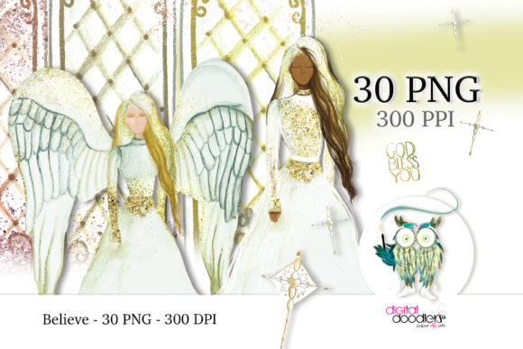 Print on Demand: Believe Angel Watercolor Graphics Graphic Illustrations By Digital Doodlers
