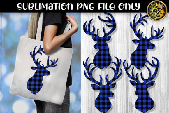 Print on Demand: Blue Buffalo Plaid Reindeer Sublimation Graphic Crafts By V-Design Creator