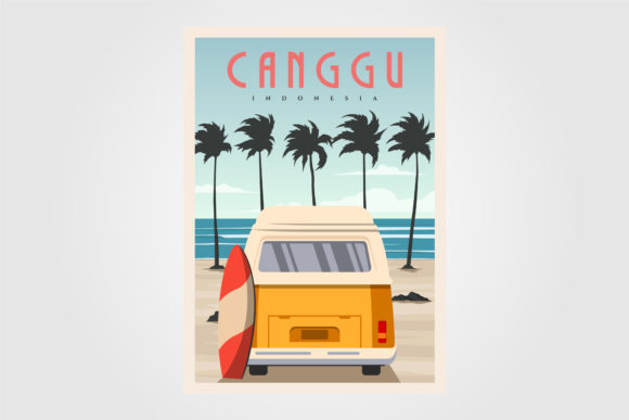 Canggu Beach with Vintage Car Background Graphic Graphic Templates By lawoel