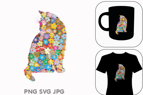 Print on Demand: Cat Flowers Flora Pet Kitten Floral Graphic Illustrations By Chiplanay