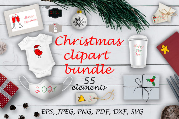 Print on Demand: Christmas Clipart Bundle. Graphic Illustrations By OK-Design
