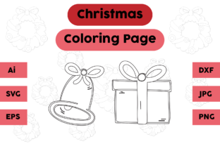 Christmas Coloring Page Bell Gift Set Graphic Coloring Pages & Books Kids By isalsemarang