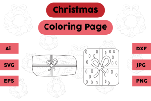 Christmas Coloring Page Gift Cute Set Graphic Coloring Pages & Books Kids By isalsemarang