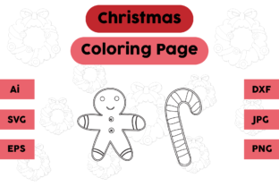 Christmas Coloring Page Ginger Candy Set Graphic Coloring Pages & Books Kids By isalsemarang