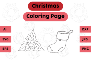 Christmas Coloring Page Plum Socks Set Graphic Coloring Pages & Books Kids By isalsemarang