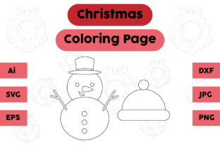 Christmas Coloring Page Snowman Hat Set Graphic Coloring Pages & Books Kids By isalsemarang