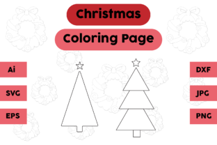 Christmas Coloring Page Tree Sets Graphic Coloring Pages & Books Kids By isalsemarang