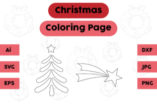 Christmas Coloring Pages Decoration Set Graphic Coloring Pages & Books Kids By isalsemarang
