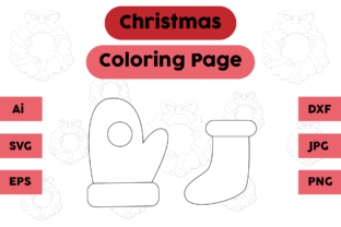 Christmas Coloring Pages Glove Socks Set Graphic Coloring Pages & Books Kids By isalsemarang