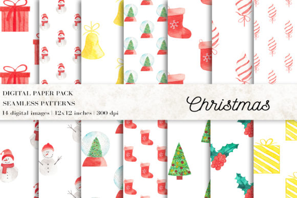 Christmas Digital Papers Graphic Patterns By BonaDesigns