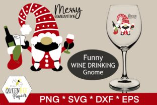 Print on Demand: Christmas Gnome, Wine Graphic Crafts By Queen Bee Papier