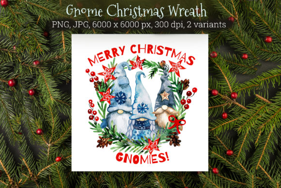 Christmas Gnomes Wreath Graphic Illustrations By KsenyaArt