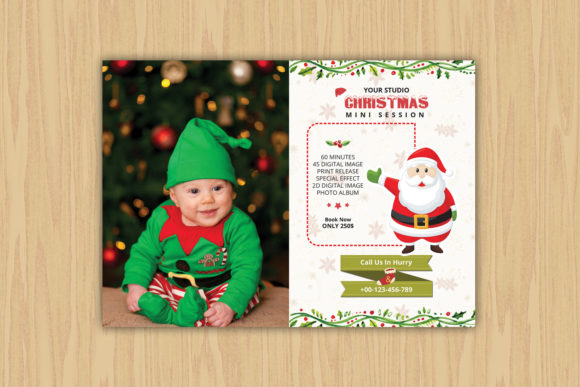 Print on Demand: Christmas /Holiday Mini Session Template Graphic Print Templates By sistecbd