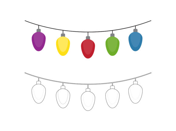 Christmas Lights Fill Outline Icon Graphic Illustrations By printablesplazza
