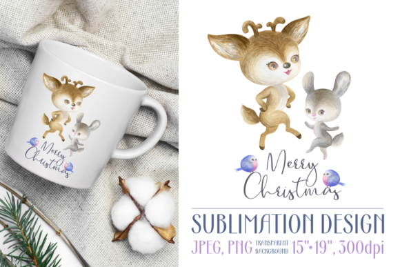 Print on Demand: Christmas Design with Deer and Bunny Graphic Crafts By Olga Belova