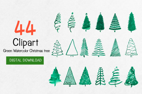 Print on Demand: Christmas Pine Tree Watercolor Clip Art Graphic Illustrations By Saydung89