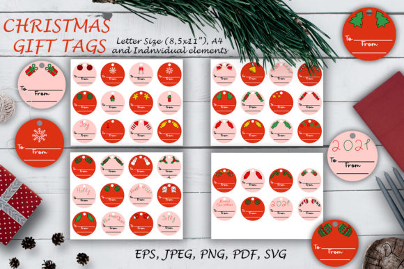 Print on Demand: Christmas Red Gift Tags SVG Files. Graphic Illustrations By OK-Design