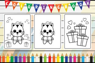 Coloring Book for Kids - Cute Cat Santa Graphic Coloring Pages & Books Kids By radigrafis