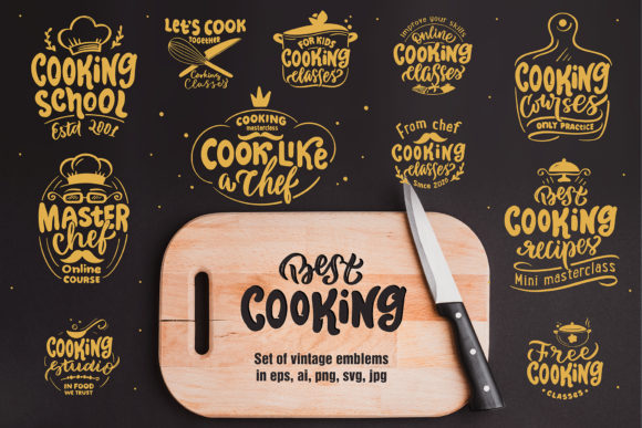 Print on Demand: Cooking. Lettering Set Graphic Illustrations By lesartbiz