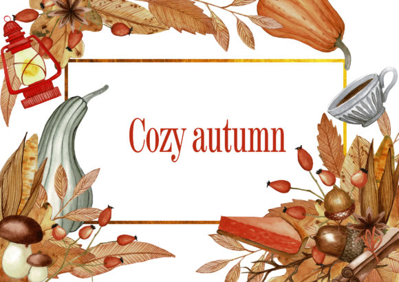 Cozy Autumn Watercolor Illustrations Graphic Illustrations By Dona Tonka
