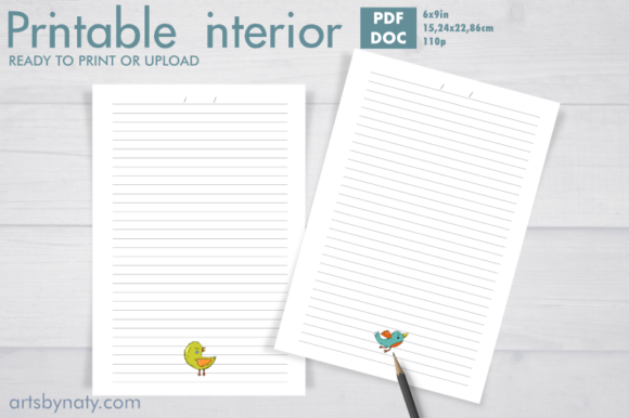 Print on Demand: Cute Birds on Every Page Lined Journal. Graphic KDP Interiors By artsbynaty