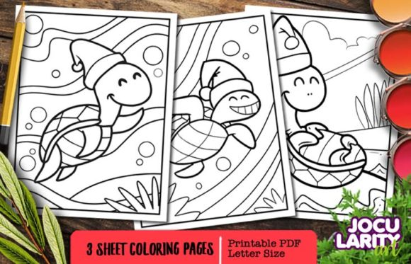 Cute Kawaii Turtles in Christmas Mode Graphic Coloring Pages & Books Kids By JocularityArt