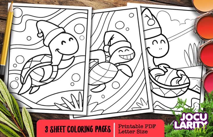 Cute Kawaii Turtles In Christmas Mode Graphic By Jocularityart Creative Fabrica