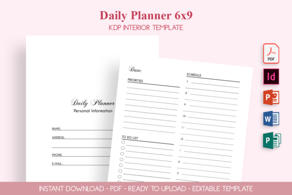 Print on Demand: Daily Planner Graphic KDP Interiors By ZOMIDESIGN