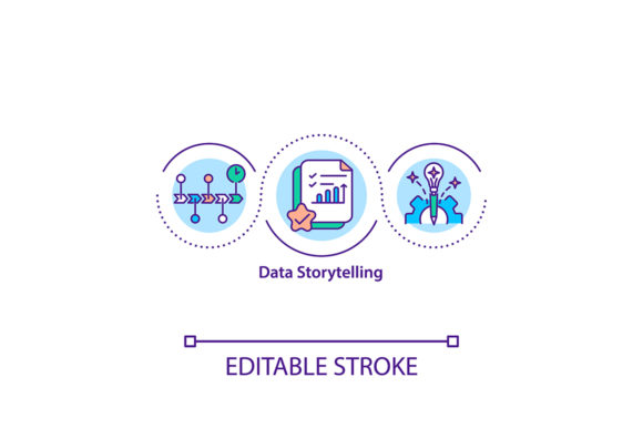 Print on Demand: Data Storytelling Concept Icon Graphic Icons By bsd studio