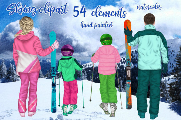 Family Skiing Clipart Winter Family Ski Graphic Illustrations By LeCoqDesign
