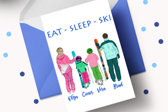Family Skiing Clipart Winter Family Ski Graphic Preview