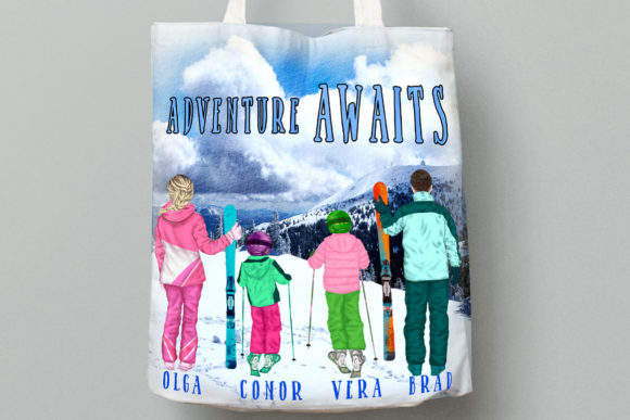 Family Skiing Clipart Winter Family Ski Graphic Downloadable Digital File