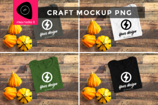 Folded Tee with Fall Gourds PNG Mockup Graphic Product Mockups By RisaRocksIt