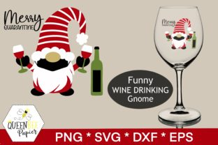 Print on Demand: Gnome, Christmas Gnomes Wine Graphic Crafts By Queen Bee Papier