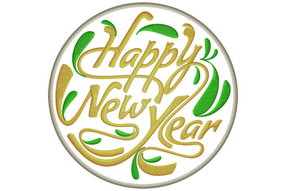 Happy New Year Wish Embroidery Image