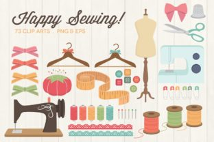 Happy Sewing Clipart Vector PNG Graphic Illustrations By peachycottoncandy