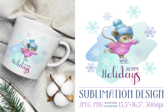 Print on Demand: Happy Holidays Sublimation Design Graphic Crafts By Olga Belova