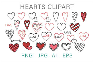 Print on Demand: Hearts Hand Drawn Clipart Graphic Crafts By AS Digitale