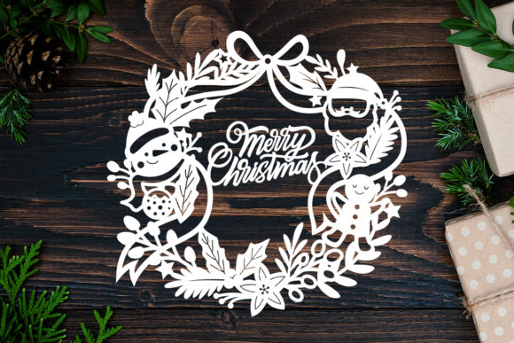 Kirigami Christmas 4 Paper Cut Graphic 3D Shadow Box By LightBoxGoodMan