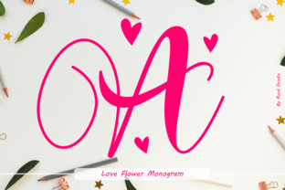 Print on Demand: Love Flower Monogram Script & Handwritten Font By Rusd studio