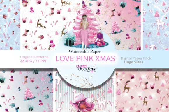 Print on Demand: Love Pink Xmas Digital Paper Graphic Muster By Digital Doodlers