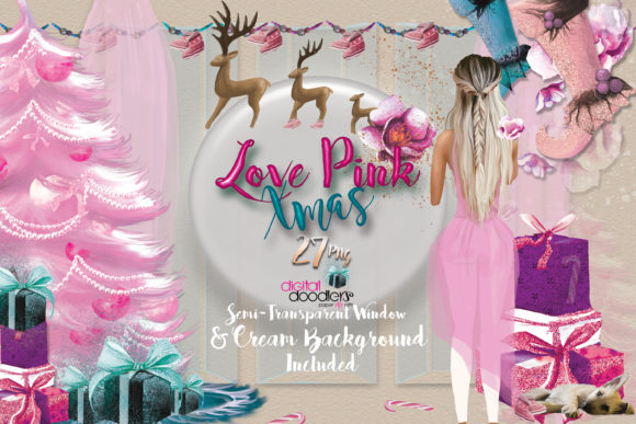 Love Pink Xmas Graphics Graphic Preview