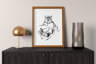 Man's Hand Gently Holding the Bully Dog Graphic Illustrations By baigern