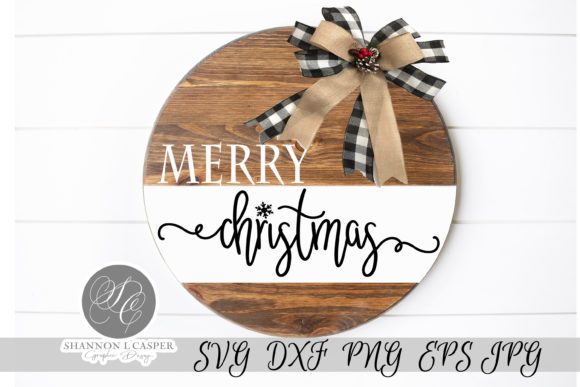 Print on Demand: Merry Christmas Round Sign Template Graphic Illustrations By Shannon Casper