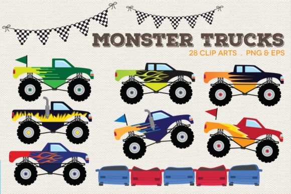Monster Trucks Clipart Vector Graphic Illustrations By peachycottoncandy