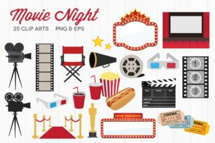 Movie Night Clipart Vector Graphic Illustrations By peachycottoncandy