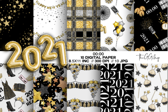 Print on Demand: New Year Party Digital Paper Pack Graphic Illustrations By TheGGShop