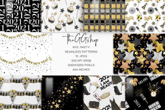 Print on Demand: New Year Party Seamless Patterns Gráfico Moldes Por TheGGShop